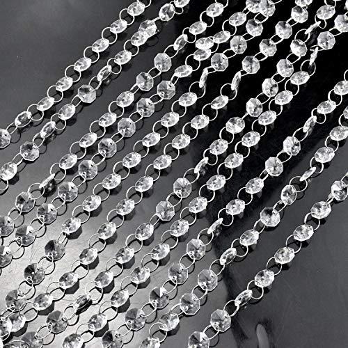 HQdeal Guirnalda con Colgantes de Cristal,Cuentas de Cristales Octogonales Acrílicos Transparentes Accesorio decorativo colgante para Arañas,Decoración de Boda Cortina,Decoraciones Bodas