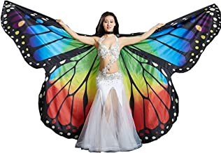 MUNAFIE Belly Dance Wings Halloween Christmas Party Colorful Butterfly Wings Performance Costumes