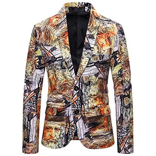 FHIORCK Angel Wings Bedruckte Schwarze Blazer Herren Slim Fit Casual Blazer Jacke XZ08 Euro Size M