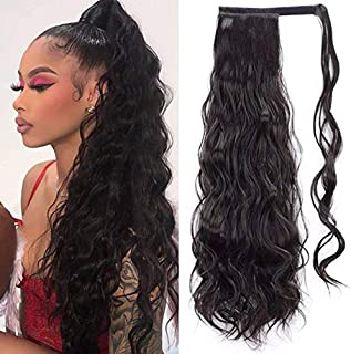 Tixiyu Paardenstaart Hair Extensions, 24 inch Clip in Paardenstaart Haarstukken Krullend Claw Clip Paardenstaart Extension...