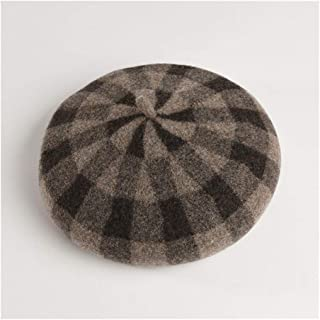 QinMei Zhou Hat Female Autumn and Winter New Wool Plaid Beret Japanese Pumpkin hat British Retro Soft Sister Painter hat (Color : Beige)