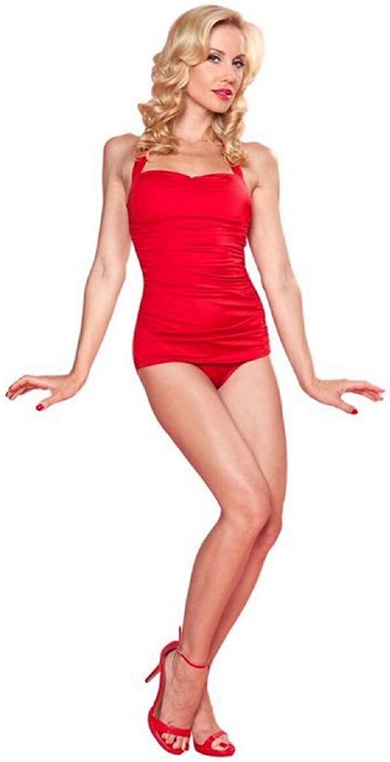 Esther Williams Classic Sheath Red OnePieces Halter