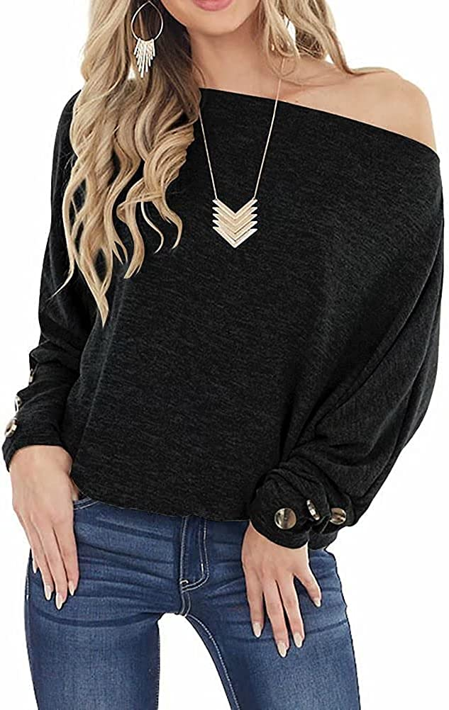 Lacozy Women's Off Shoulder Tops Long Sleeve Oversized Pullover Sweater Button Knit Jumper Tunic Shirt
