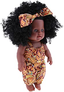 Baoblaze Real Life Reborn 12inch Baby Girl Doll - Black Skin, Black Curly Hair – Christmas GIFS Photography Props