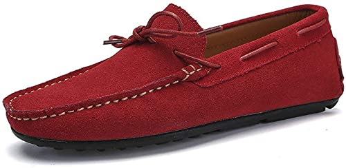 FuWeißncore Herren Mokassins Schuhe, Herren Driving Loafers Wildleder Echtes Leder Penny Mokassins Rubber Studs Sohle Stiefel Comfort Schuhe (Farbe   Rot, Größe   43 EU)
