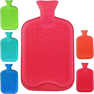 WTSHOP Premium Simple Rubber 2.5L Hot Water Bag(Random Color),Great for Pain Relief,Hot and Cold Therapy,Natural Rubber BP...