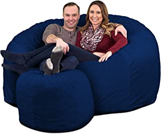 ULTIMATE SACK 6000 Bean Bag Chair w/Footstool: Giant Foam-Filled Furniture - Machine Washable Covers, Double Stitched Seams, Durable Inner Liner, and Virgin Foam Footstool Incl.(Electric Blue, Suede)