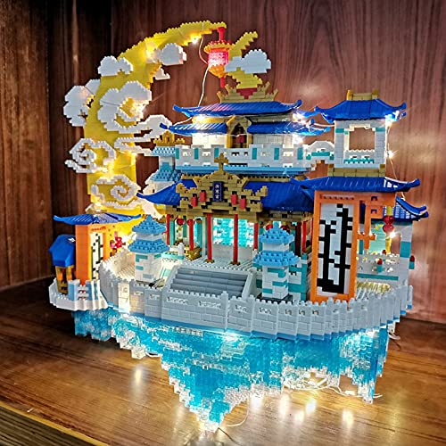 N\A Micro Mini Bloques De Kits, Arquitectura De Estilo Chino Moon Palace 3D Puzzle Juegos De Bricolaje Juguetes Educativos (8000 Unidades), con La Luz