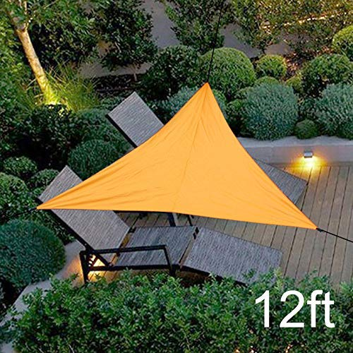 Sun Voile d'ombrage - Protection UV Canopy, étanche à la Pluie crème Solaire Awing Triangular Canopy for extérieur Jardin Patio Plage zcaqtajro (Color : Orange, Size : 12ft)