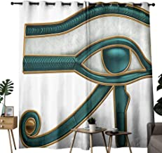 Marilec Heat Insulation Curtain Egyptian Eye Pattern Wadjet Ancient Egyptian Symbol of Protection Image Print Teal Pale Grey and Gold Light Blocking Drapes with Liner W72 xL84