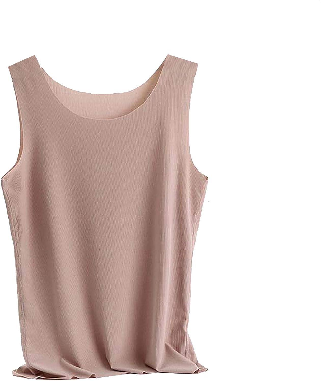 MEIFXIH Womens Sleeveless Round Neck Vest Summer Fall Silk Loose Cami Tank Top