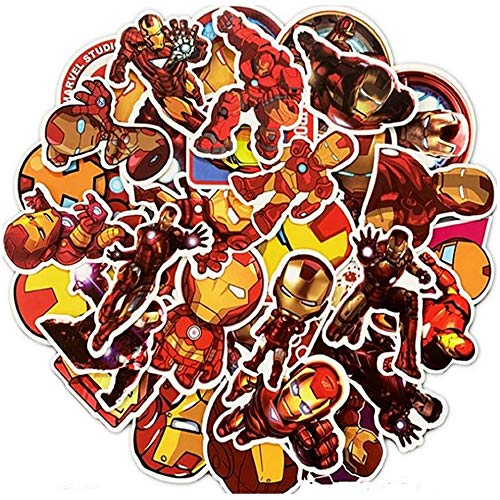 LVLUO Disney Iron Man Pegatina portátil Guitarra monopatín Equipaje Casco Dibujos Animados Avenger Pegatina Impermeable Juguete para niños 35 Uds