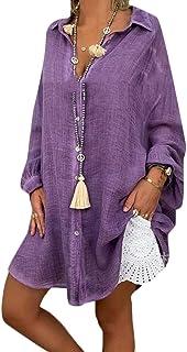 MK988 Women Loose Irregular Hem Casual Solid Plus Size Cotton Linen Long Sleeve Shirt Blouse Top