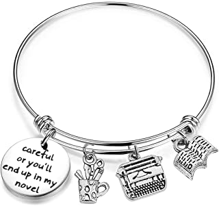 Gzrlyf Writer Bracelet Author Bracelet Writer Gift Novelist Gift Careful Or Youll End Up in My Novel Jewelry Writing Gift Author Jewelry