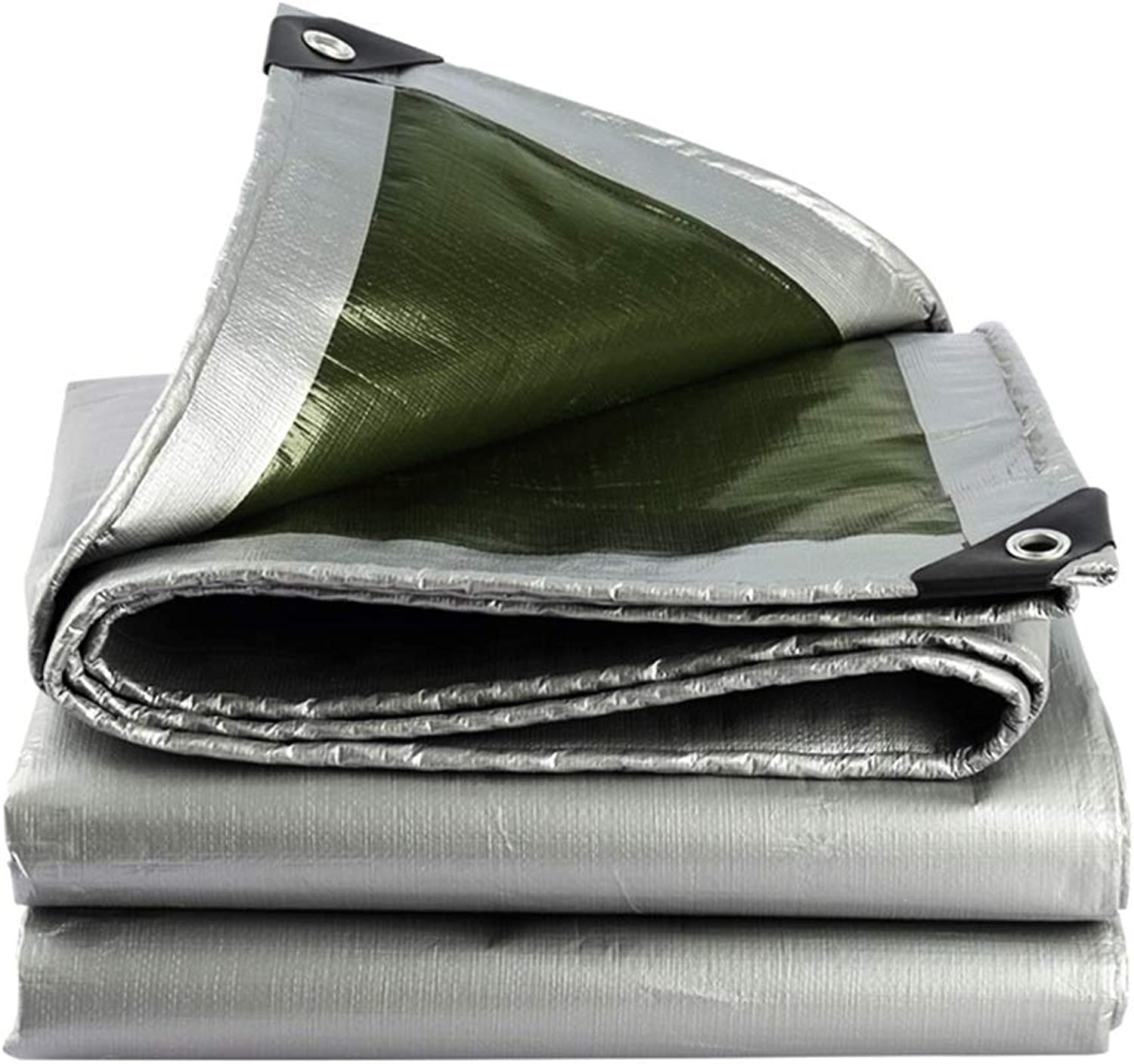 CHAOXIANG Tarpaulin Tent Thicken Foldable Rainproof AntiSun High Temperature Resistance AntiAging WearResistant Lightweight PE Silver, 180g m2, Thickness 0.35mm, 22 Sizes