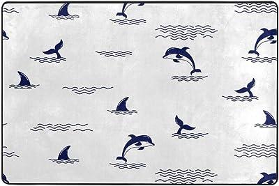 Mydaily Dolphins Fin Tail Area Rug 2 x 3 Feet, Living Room Bedroom Kitchen Decorative Lightweight Foam Nursery Rug Floor Mat