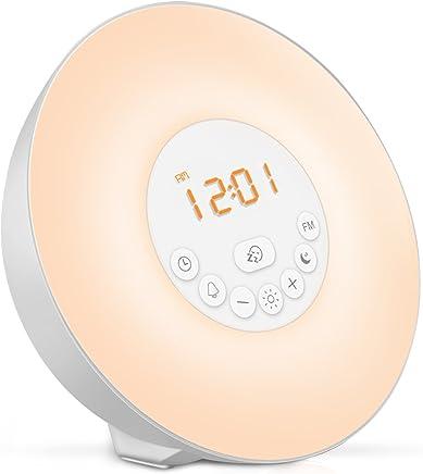 目覚ましライト 光 目覚まし時計 Wake Up Light ウェイクアップライト 自然音アラーム FMラジオ 10段階調光 スヌーズ機能付き VEHOLION VO-1
