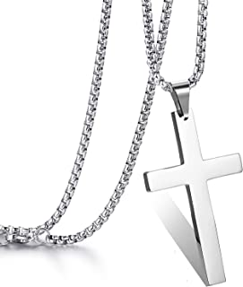 Cross Pendant Necklace for Men Women,Premium Stainless Steel Silver Cross Chain Simple Jewelry Gifts for Best Jewelry Gift...