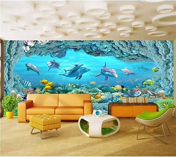 Pbldb Custom Wallpaper 3D Murals Huge Panoramic Underwater World Coral Reef Dolphins Living Room Sofa Background Wall Paper 250X175Cm
