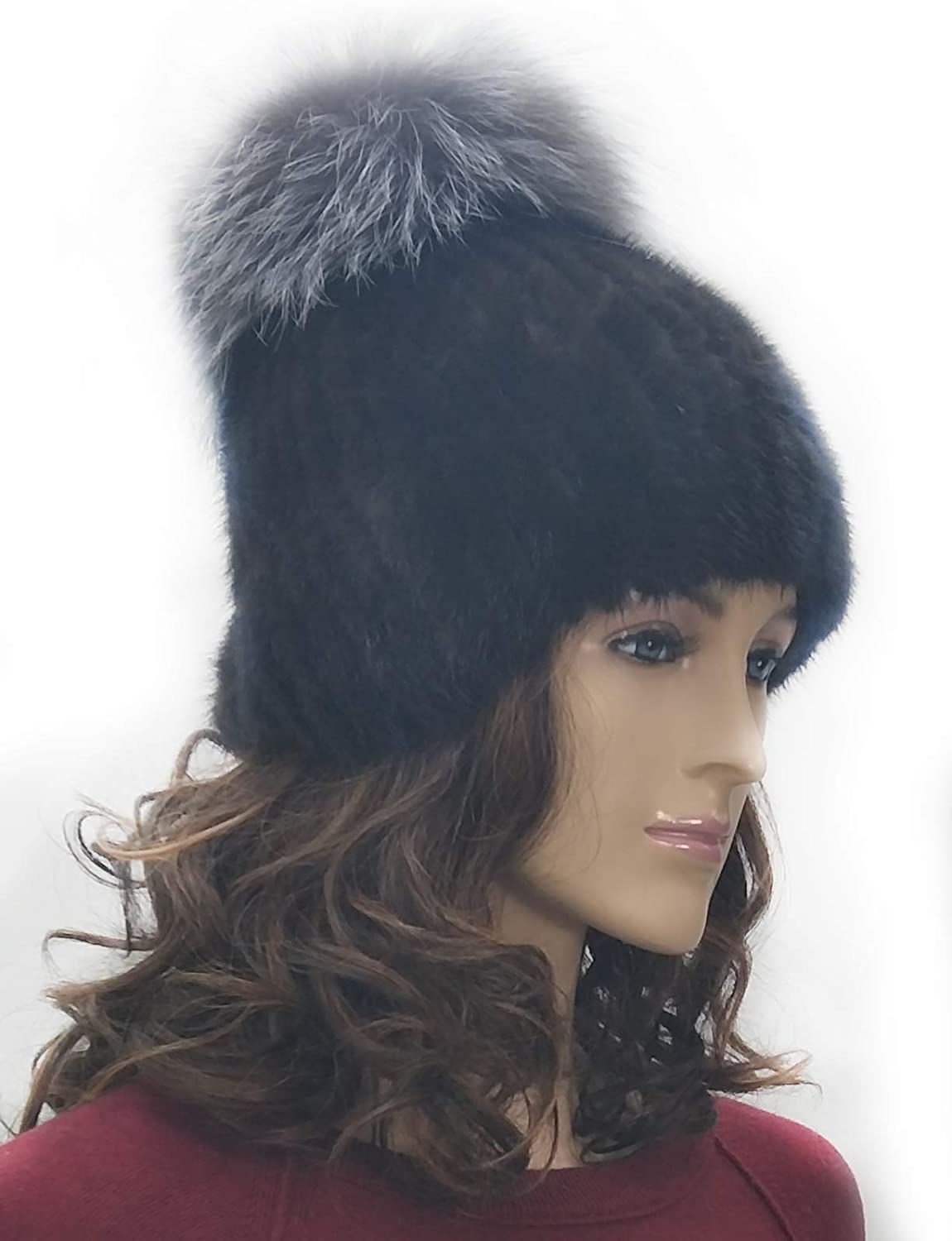 Hima GumdropShaped 100% Knitted Mink Fur Hat Silver Fox Fur on Top