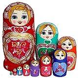 U/N Matrioska rusa de 10 capas, excelente artesanía de madera matrioska, puede ser fecha para niños y amigos/utilizado para la decoración del banco de la ventana