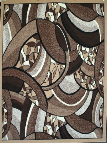Generations Contemporary Brown and Beige Modern Square and Circles Area Rug 5'2 x 7'3