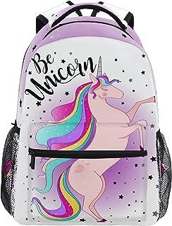 حقيبة ظهر بتصميم وحيد القرن بألوان قوس قزح للفتيات حقائب كتب مدرسية للأولاد وحقائب كتب للأطفال
