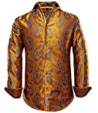 Dubulle Casual Button Down Shirt for Men Long Sleeve Silk Mens Dress Shirt Spread Collar Fit Flex Orange Gold Paisley Shirt Hawaiian Suit Shirt