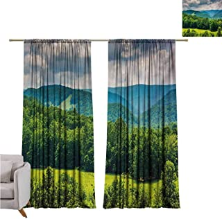 Andrea Sam Eclipse Curtains Landscape,View of Mountains in Potomac Highlands of West Virginia Rural Scenery Picture,Forest Green W84 x L108 inch,Bedroom Blackout Curtains