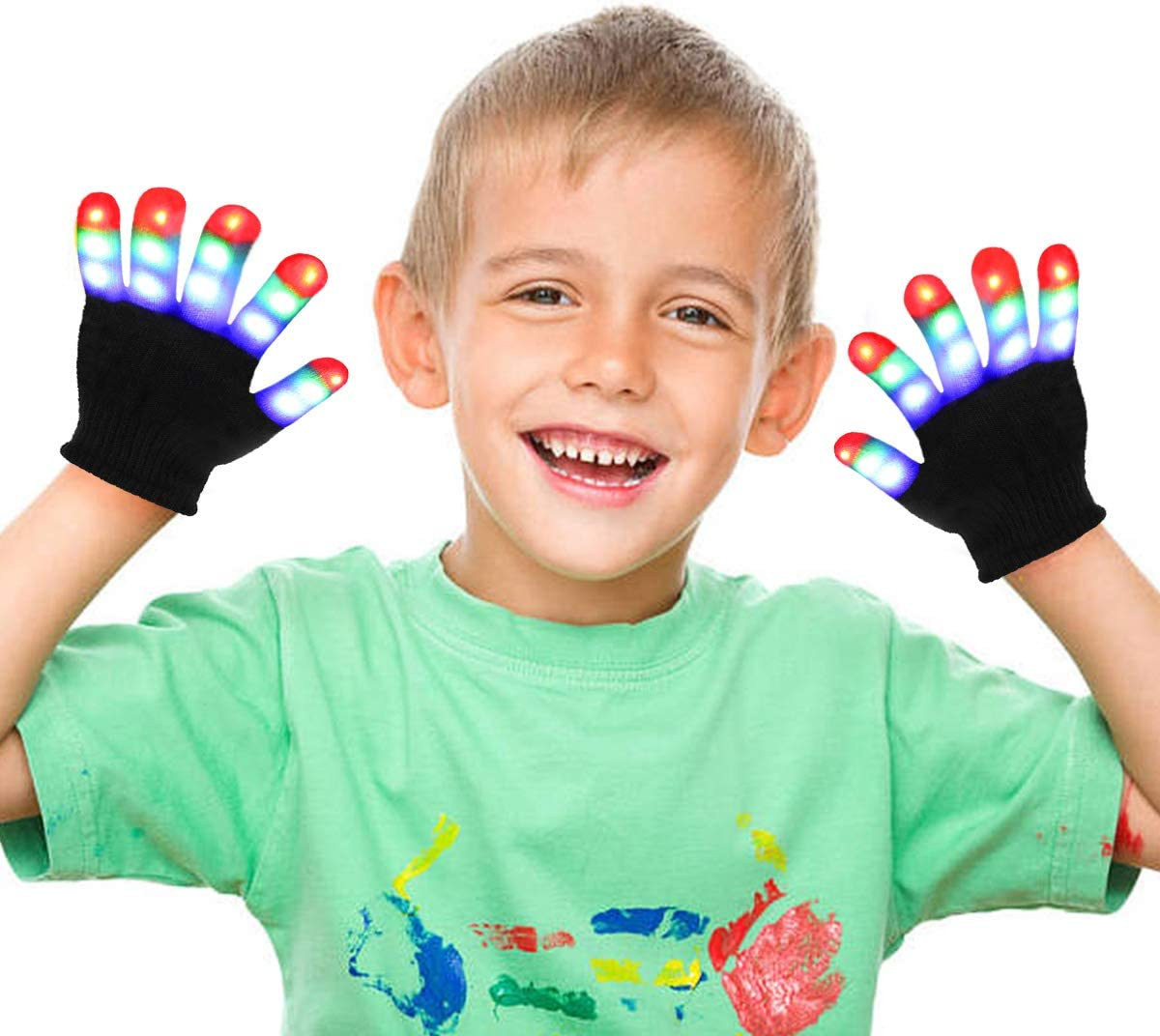 Ages 4-9, Pink Jofan Light Up Gloves LED Gloves Rave Cool Toys Gifts for Kids Teens Boys Girls Christmas Stocking Stuffers Party Favors