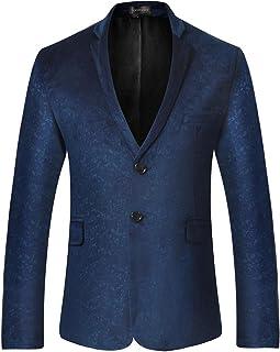 Sportides Men's Casual Slim Fit Velvet Printed Two Button Blazer Men Jacket Suits JZA130 Navy M