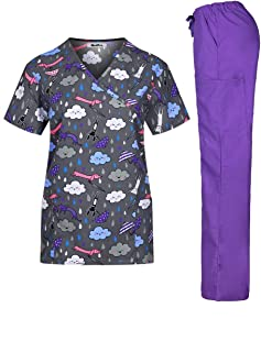 Women's Printed Medical Scrub Set Mock Wrap Top and Pants