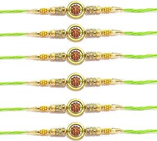 Set of 6 Rakhi for Brother Rudraksha Ring Stone Beds Multicolor Thread Multi Bracelet Friendship Band for Festive Pooja Raksha bandhan