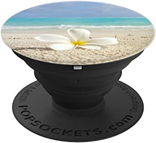 White Flower on the Beach Sea Sand Vacation Hawaii Sun Hello - PopSockets Grip and Stand for Phones and Tablets