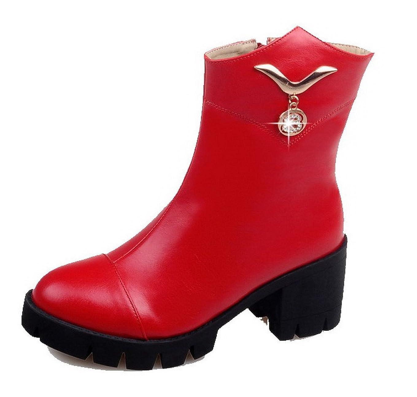消毒剤下着自宅で(オールエイチキューファッション) AllhqFashion レディース ビロードの裏 純色 ジッパー ラウンドトゥ 中ヒール ブーツ 26.0cm レッド