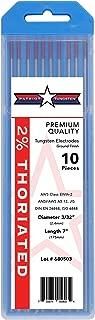 "2% Thoriated TIG Welding Tungsten Electrodes 3/32"" x7"" 10-Pack"