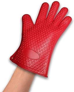 Vinsani [rojo/azul/naranja/rosa] de silicona resistente al calor resistente al agua guantes de cocina–apto para lavavajillas–disponible en 4colores 1 X Red