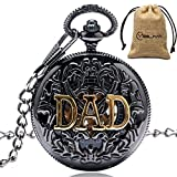 Mens Vintage Dad Father's Day Black Hollow Mechanical Pocket Watch...