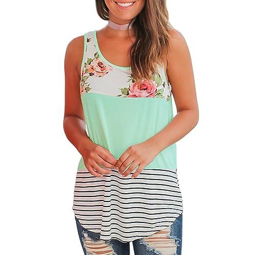 01494a01325 WFTBDREAM Women s Summer Sleeveless Floral Print Casual Tank Tops Shirts