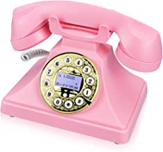 Pink Retro Landline Phone for Home, IRISVO Vintage Phone Old Fashioned Classic Desk Telephone with LCD Screen Display and ... photo
