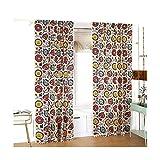Samine 2 paneles 50% opaco, impresión de girasol, cortinas bohemias para decoración de pared de dormitorio