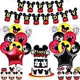 Decoraciones de Cumpleaños de Mickey Mouse, 26 Piezas Decoración de Fiesta de Cumpleaños de Mickey, Feliz Cumpleaños Pancartas, Cupcake Toppers, Globos