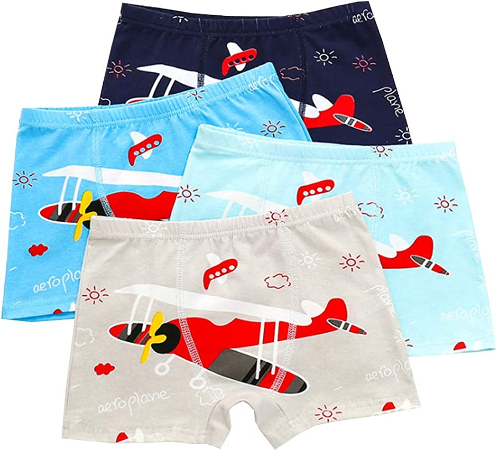 YUMILY 3-10 Years Boys Airplane Boxer Shorts Colorful Cotton Briefs Underwear