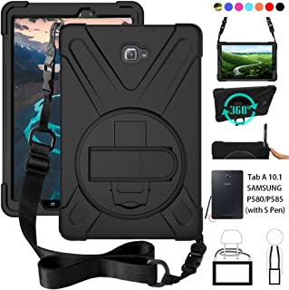 ZenRich P580 Case, Galaxy Tab A 10.1 (with S Pen) Case, Shockproof High Impact Resistant Heavy Duty Case with Hands Strap Shoulder Belt for Samsung Galaxy Tab A 10.1 P580 P585 (S Pen Version),Black
