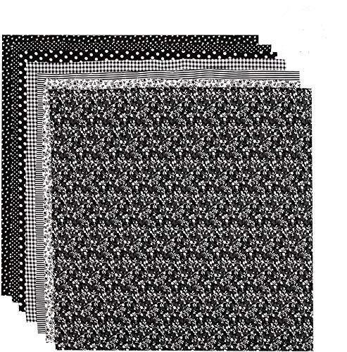 tiopeia 7 Stück 50 x 50cm Baumwollstoff Patchwork Stoffe Stoffpakete Baumwolle Stoffreste Quadrate Bündel Quilten Scrapbooking Nähen Artcraft DIY Stoff(Schwarz)