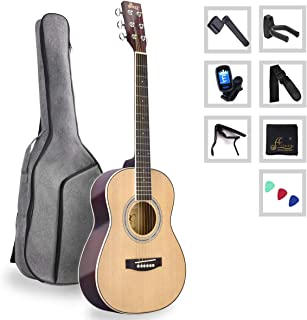 3/4 Spruce Acoustic Guitar for Travel Beginners Students Kids with Advanced Kit, 36 Inches, Right Handed