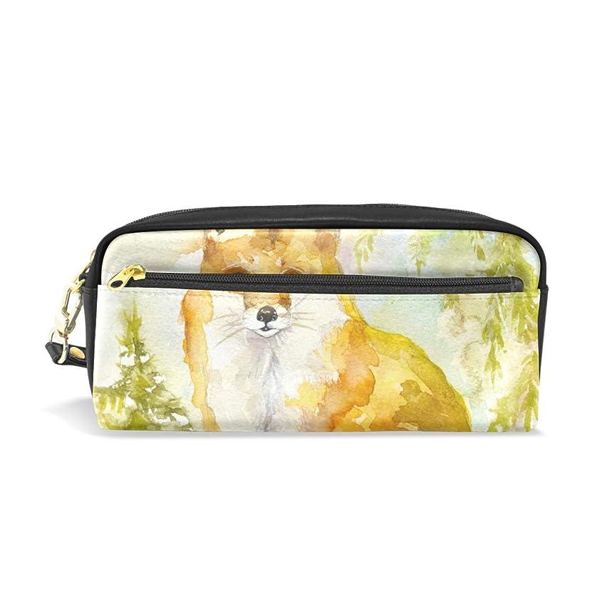 現実的例外ワゴンAOMOKI ペンケース 小物入り 多機能バッグ ペンポーチ 化粧ポーチ 男女兼用 ギフト プレゼント おしゃれ かわいい 狐 アニマル 可愛い