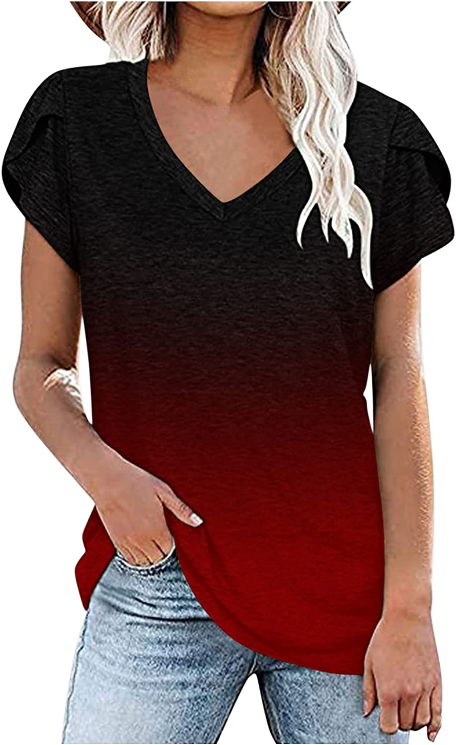 Summer Casual Tops for Women V Neck Short Sleeve Boho Printed Loose Fit Comfy T Shirts Blouses