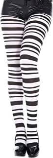 MUSIC LEGS Women's Black and White Striped Pantyhose