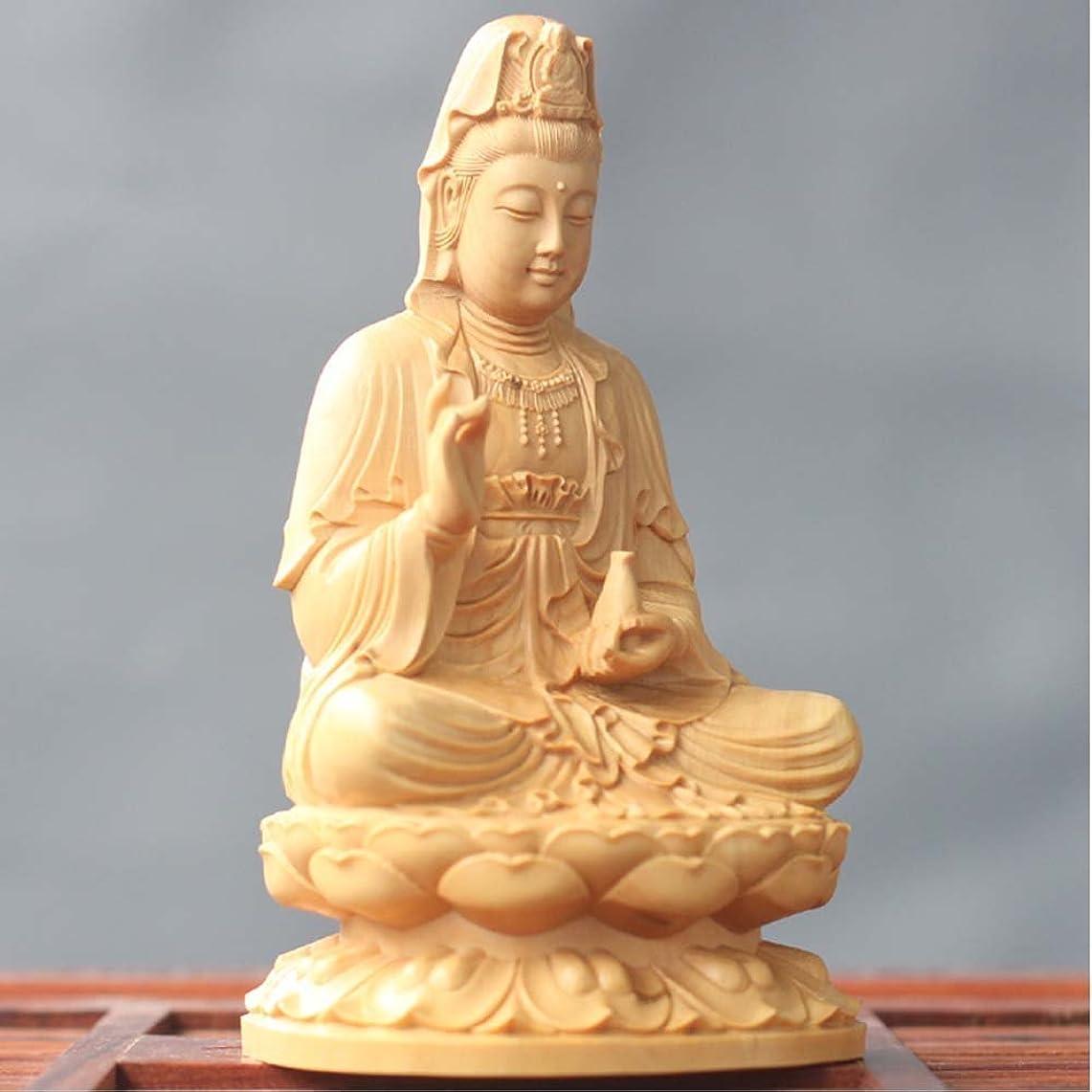 納得させるのど永遠の木彫仏像 観音菩薩 木製彫刻 祈る (サイズ:14cm)